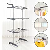 Homgrace Folding 3 Tiers Clothes Airer Laundry Drying Rails with Extendable Arms Garments Hangers Adjustable Shelves Drier Shoes Rack for Indoor & Outdoor