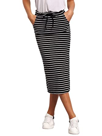 4aa745e27c SheIn Women's Striped Drawstring Mid Waist Casual Long Pencil Skirt Black  and White