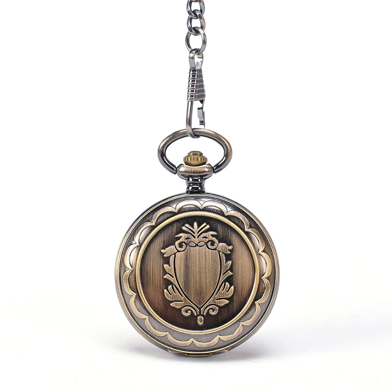 ブロンズシールドスケルトンスチームパンクヴィンテージメンズPocket Watch with Chain Hollow Roundアナログナイトスタイル腕時計 B01MDUD0BC