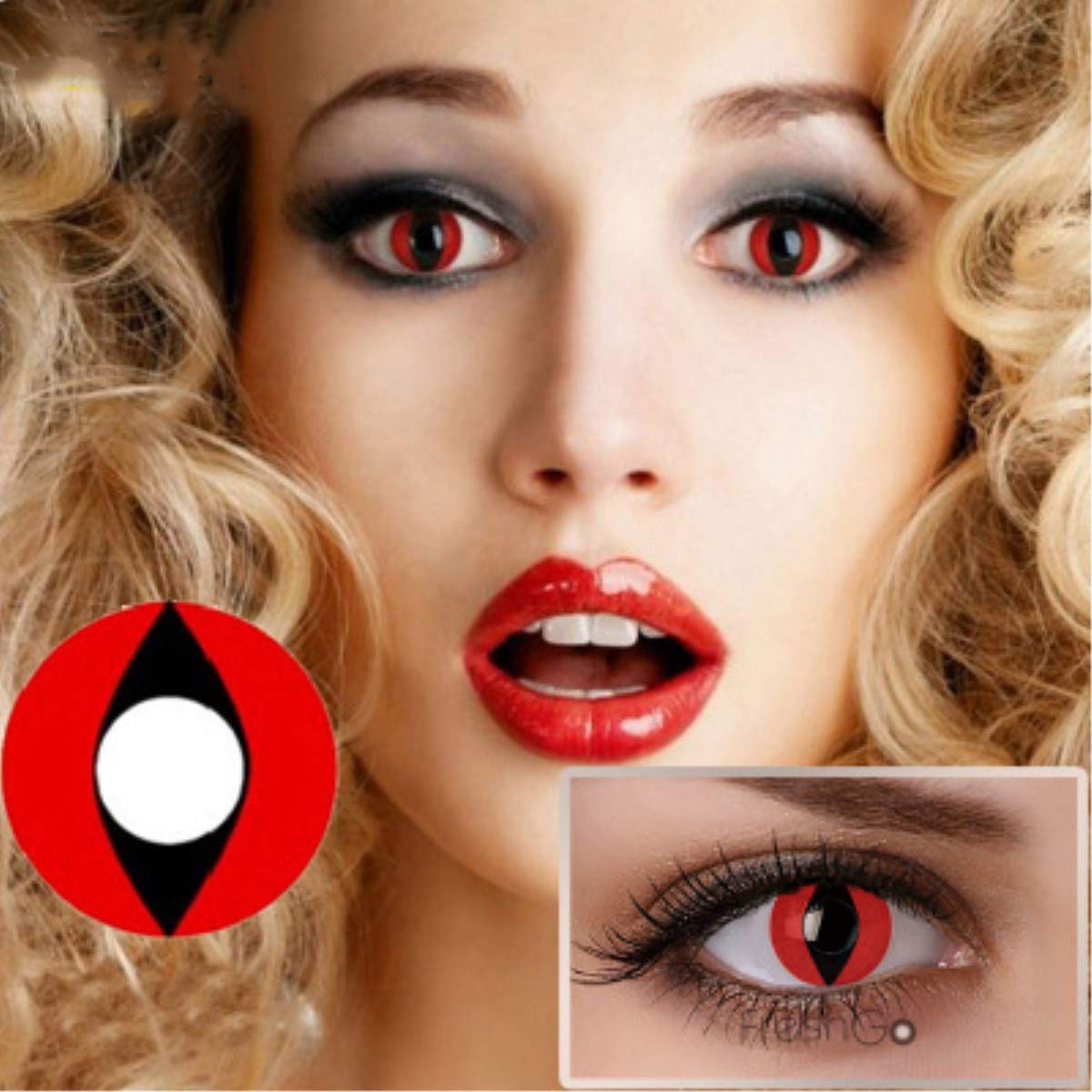 Yaogroo Mult-icolor Cosplay Eyes Cute Colored Charm and Attractive Fashion Contact Lenses Color Blends Cosmetic Makeup Eye Shadow Halloween Carnival Cosmetic Cosplay Eyes (Pattern3)