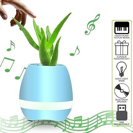 Music Pot de Flores, Smart Touch Bluetooth Altavoces Música Flower Pot Planter Home Office Deco