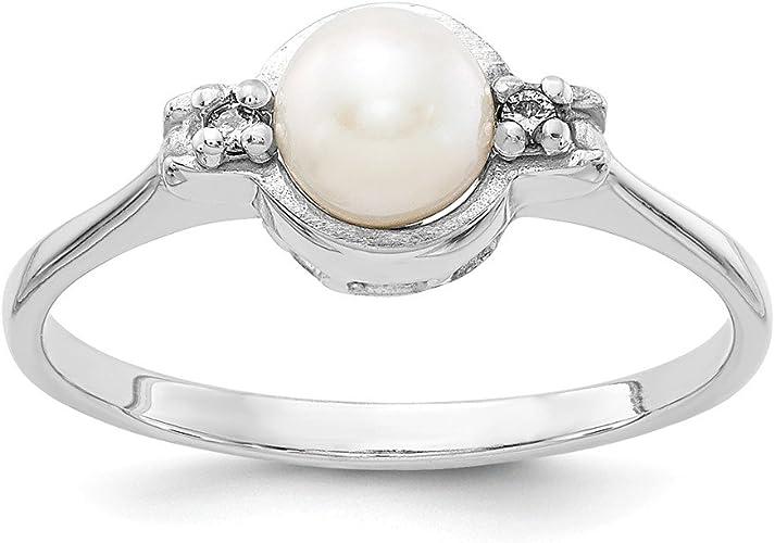 Jewelry Adviser Rings 14K Diamond /& FW Cultured Pearl Ring