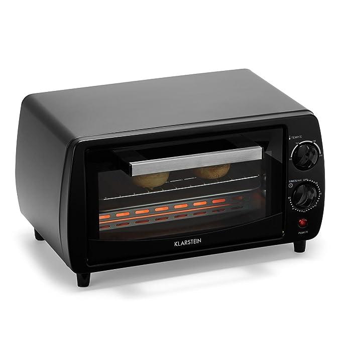 Klarstein Minibreak Mini horno eléctrico (800W de potencia, capacidad de 11 litros, timer, temperatura máxima 250°C) - negro: Amazon.es