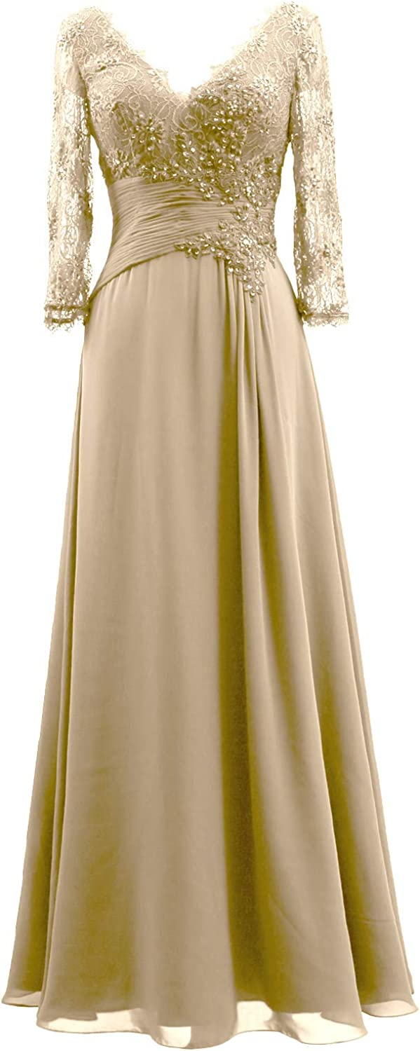 1940s Dress Styles MACloth Women V Neck Long Mother of Bride Dresses 3/4 Sleeve Formal Evening Gown $138.00 AT vintagedancer.com