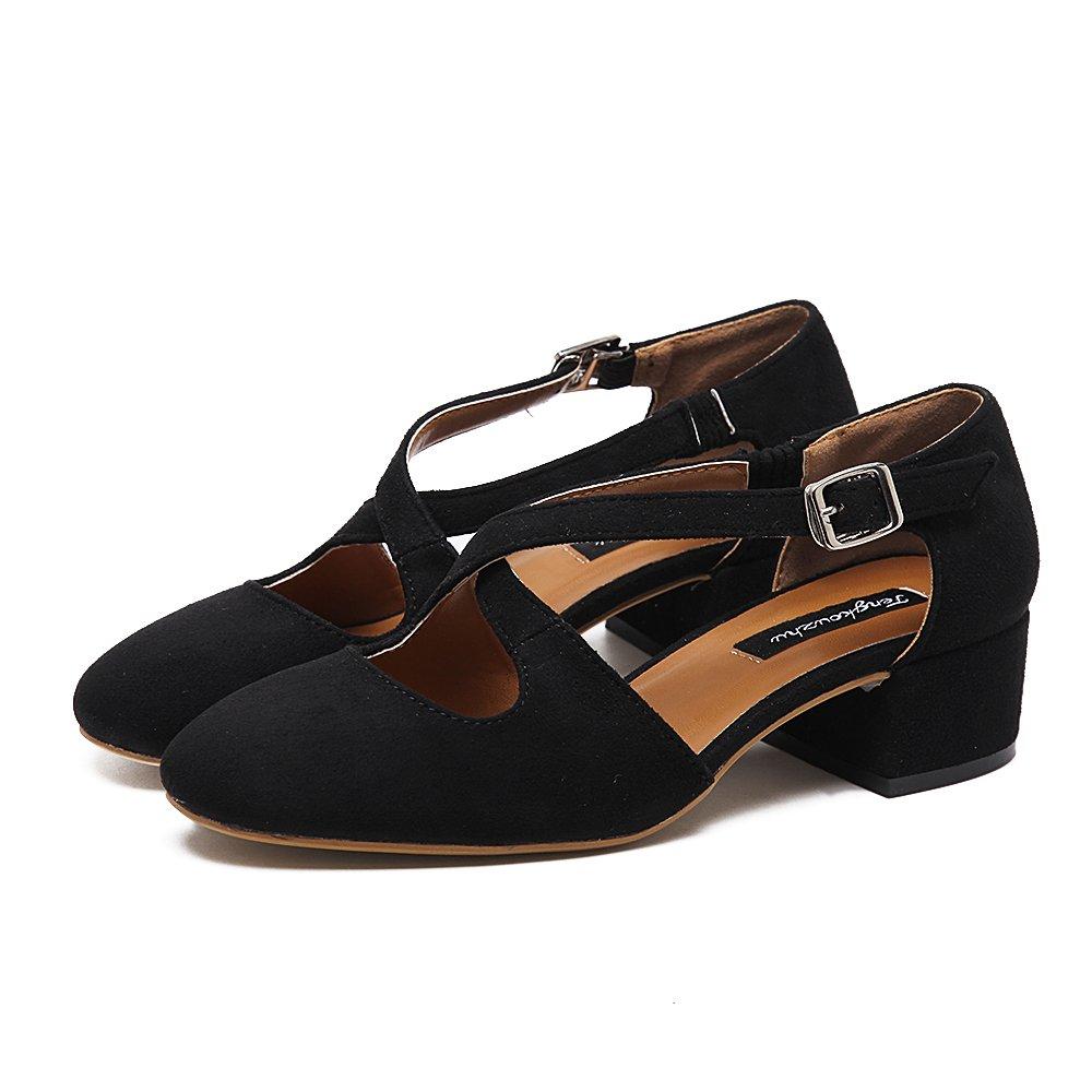 Xue Qiqi Court Schuhe Dick mit runden Sandalen flachen Mund Mund Mund mit der Tasche mit Einem einzelnen Schuhen weibliche High Heel Schuhe 38 schwarz dd8e61