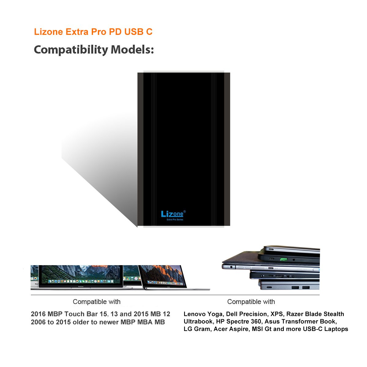 Lizone Extra Pro 50000mAh PD USB C External Battery Power Bank Portable Charger for 2016 2017 Macbook Pro HP Spectre Lenovo Yoga Asus LG Dell Razer Blade Stealth Acer PD USB-C Laptop Tablet Smartphone by Lizone (Image #2)
