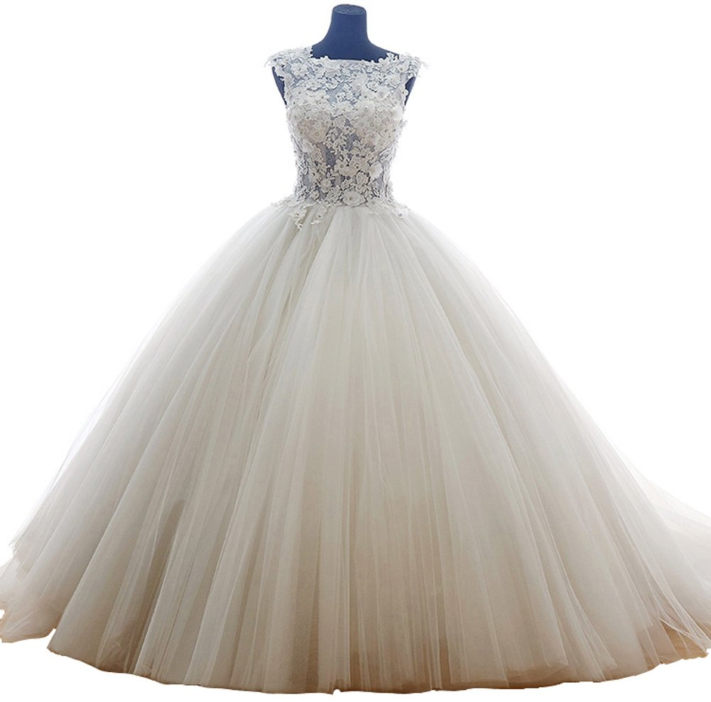 Snowskite Ball Gown High Neck Princess Lace Tulle Wedding Dress 24 Ivory
