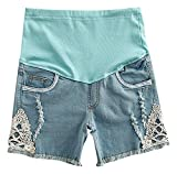 Hibukk Light Blue Raw Tassel Hem Lace Detail Full Panel Maternity Denim Shorts, Sky-Blue 8,Manufacturer(XXL)