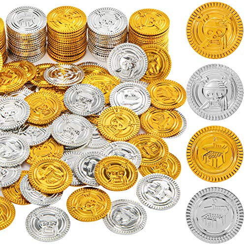 3 otters Pirate Toys Gold Coins, 300PCS Plastic Gold and Silver Coins Treasure for Pirate Party Decoration