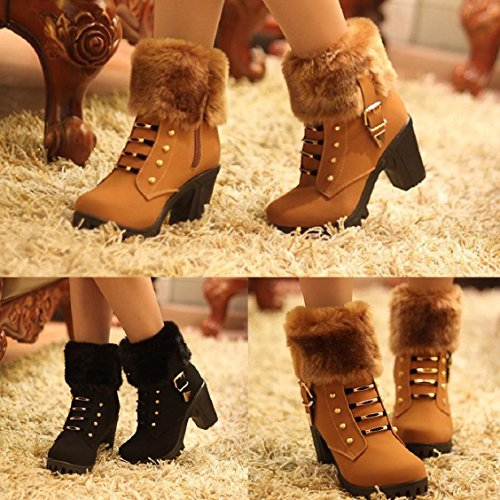 Heels Women's Ankle Plush Brown Zipper Square Platform Boots Winter Boots Boots Martin Naladoo Fashion Heel qEw8SIg
