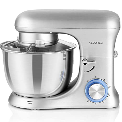 Albohes Batidora amasadora repostería profesional, con 3 ganchos, Mezcladora de cocina para hornear, Aleación de aluminio, 6 velocidades con opción ...