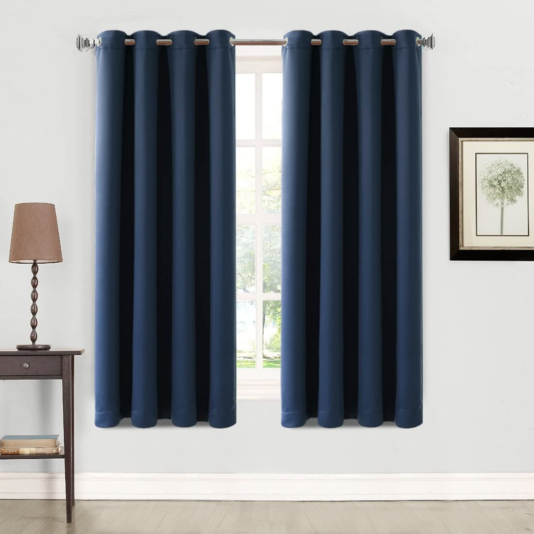 Balichun 2 Panels Blackout Curtains Thermal Insulated Grommets Drapes for Bedroom 52 by 63 Inch Navy