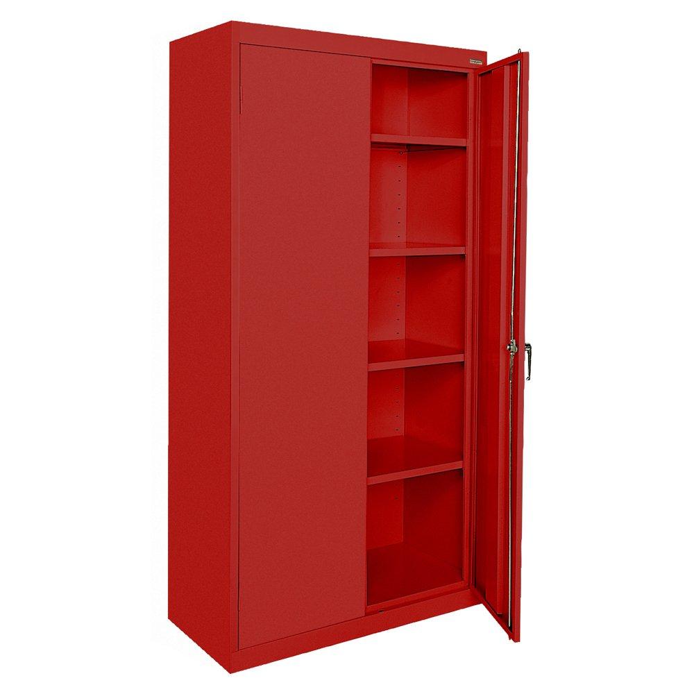Sandusky Lee CA41361872-01, Welded Steel Classic Storage Cabinet, 4 Adjustable Shelves, Locking Swing-Out Doors, 72'' Height x 36'' Width x 18'' Depth, Red