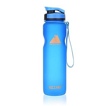 Victanz - Botella de agua deportiva de 1 litro, 1000 ml, botella grande con filtro, ...