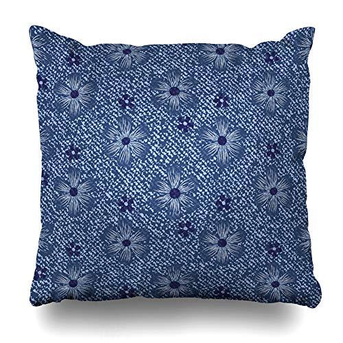 - Ahawoso Throw Pillow Cover Pants Indigo Blue Jeans Flowers Daisies Denim Thread Nature Canvas Classic Cosmos Daisy Dark Vintage Decorative Pillow Case 16x16 Inches Square Home Decor Pillowcase