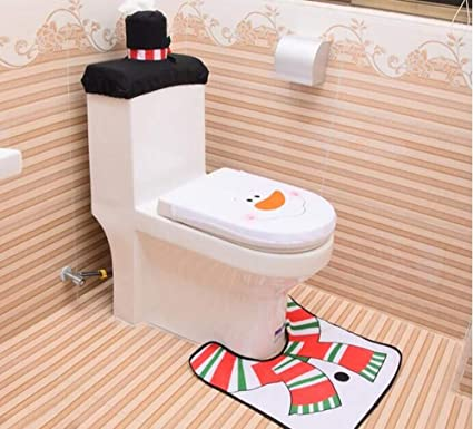 Amazon Com Sgfbhd 3 Pieces Christmas Snowman Santa Toilet Tank