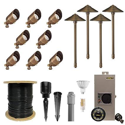 new concept 37534 4b481 VOLT 8 Spotlight 4 Path Light Complete Kit, Brass