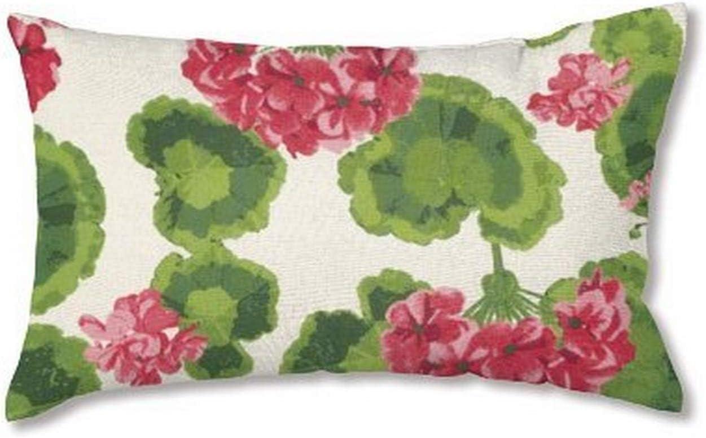 Amazon Com Plow Hearth 35674 13 Weather Resistant Outdoor Classic Lumbar Pillow Geranium Garden Outdoor