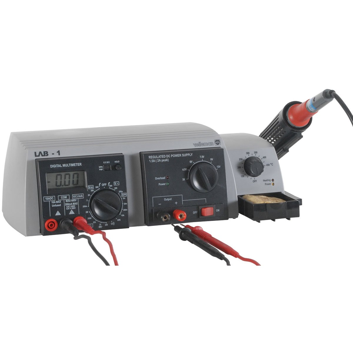 Velleman LAB1U Three in One Lab Unit Multimeter, Power Supply and Soldering Iron