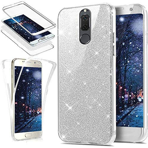 Huawei Mate 10 Lite Case,[Full-Body 360 Coverage Protective] Crystal Clear Sparkly Shiny Glitter Bling Front Back Full Coverage Soft Clear TPU ...