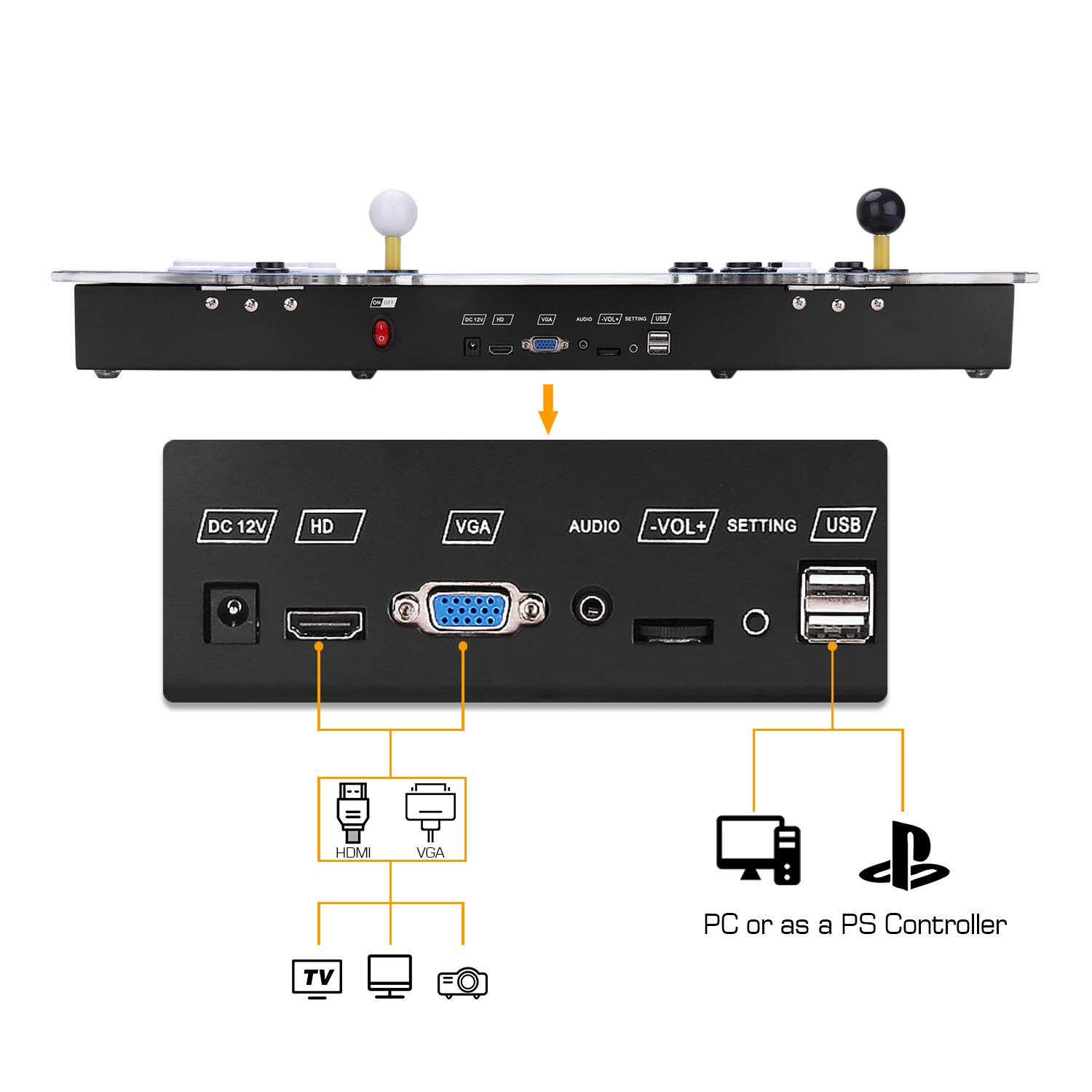 Spmywin 3D Pandoras Key 7 Arcade Video Game Console 1080P Full HD Support to Expand 2D & 3D Games Come with 32G U Drive by Spmywin (Image #6)