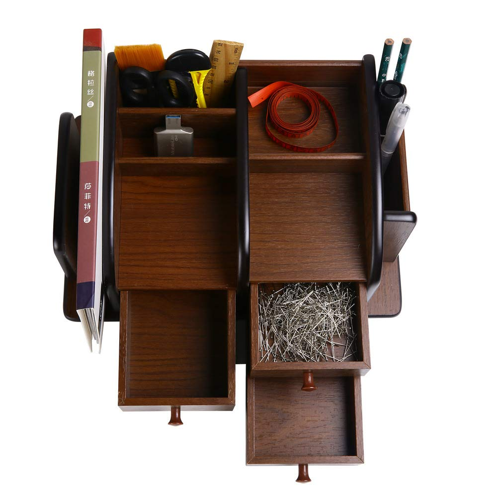 Siveit Wooden Desk Organizer, Wood Desktop Organizer with 3 Drawers 2 Shelves and 3 Compartments Office Supplies Holder Desk Accessories (Desk Organizer-3+3+2) by Siveit (Image #6)