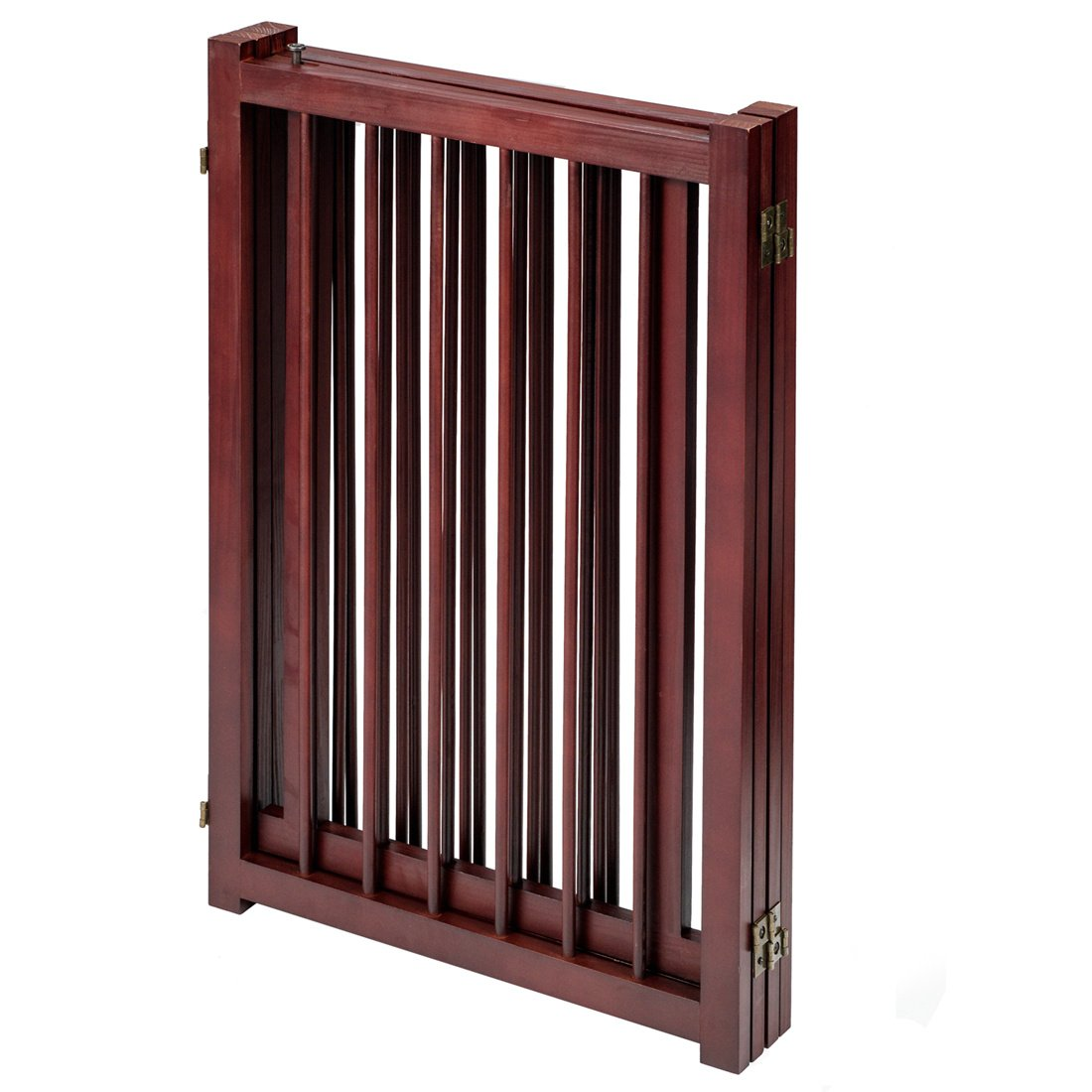 GOOD LIFE 81 Inch Wooden Pet Gate with Walk Through Door Adjustable Freestanding Fence Folding Dog Gate 4 Panel Coffee Color PET343 by GOOD LIFE USA (Image #5)