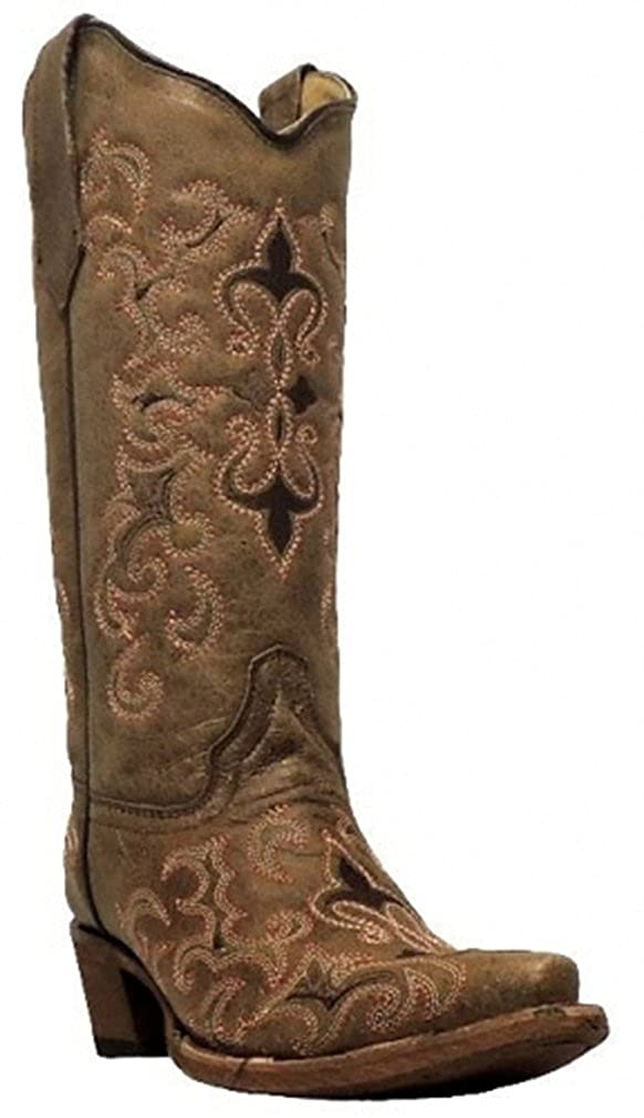 Corral Womens L5132 Fleur Embroidered Brown Snip Toe Western Boots 6 M