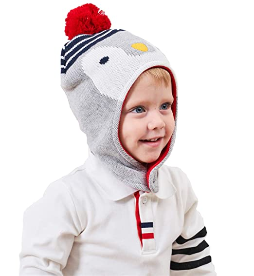 Funjoy Baby Boys Girls Winter Beanie Cute Penguin Animal Knitted Earflap Hat  Toddler Kids Warm Soft 4575c131f2a4