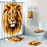What Is the Biggest Bed Size aolankaili 5-Piece Bathroom Set-Includes Shower Curtain Liner,of The Lion King Biggest Cat in Africa Icon in Tropics Theme Orange WhitePrint Bathroom Rugs Shower Curtain/Bath Towls Sets(Medium Size)