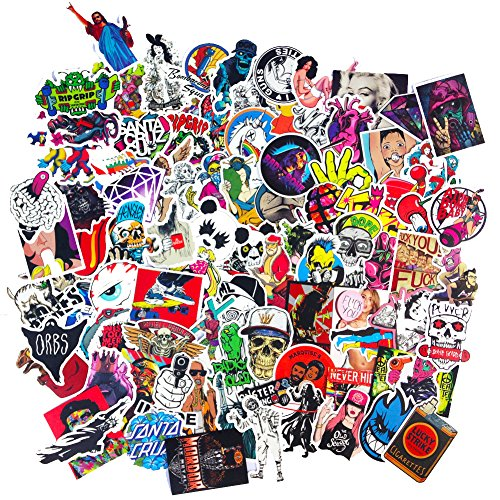 Sticker 10 (DreamerGO Cool Graffiti Stickers 100 Pieces Various Car Motorcycle Bicycle Skateboard Laptop Luggage Vinyl Sticker Graffiti Laptop Luggage Decals Bumper Stickers (100 Pieces) (Style D))