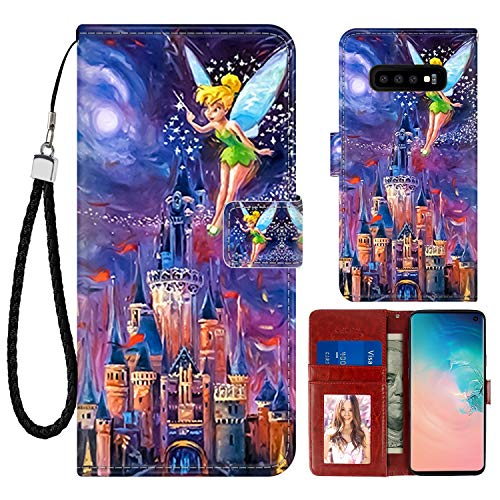 DISNEY COLLECTION Wallet Case for Samsung Galaxy S10+ Tinkerbell At Cinderella Castle Pattern Design Magnetic Closure [Stand Feature] Folio Flip Cover with Card Holder and Wrist Strap Protective Cover