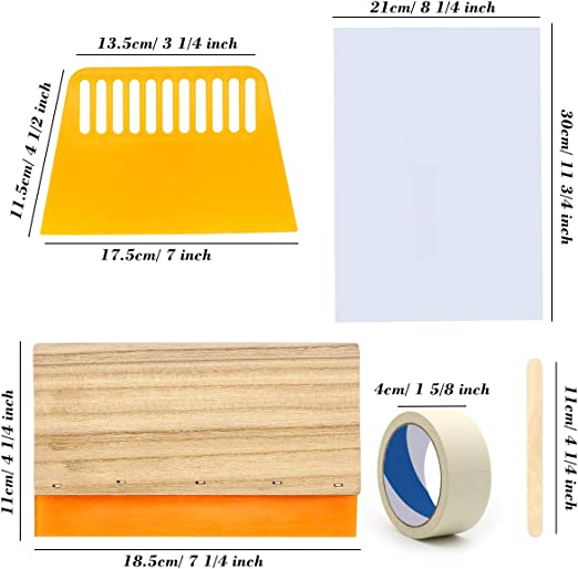 Screen Printing Squeegees and Mask Tape Vinyl Sheets Transfer Tape Sheets Caydo 26 Pieces Vinyl Screen Printing kit Include 10 x 14 Inch Wood Silk Screen Printing Frame
