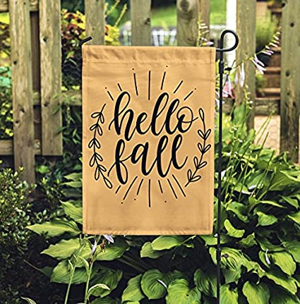 Hello Fall Garden Flag Personalized Garden Flag Garden Decor Monogram Flag Autumn Flag Halloween Flag Pumpkin Flag Yard Gift
