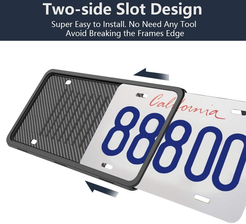 LEADSTAR License Plate Frames Silicone License Plate Holder Rust-Proof Rattle-Proof Weather-Proof with 3 Drainage Holes Black Silicone License Plate Frame Cover 2 Pack