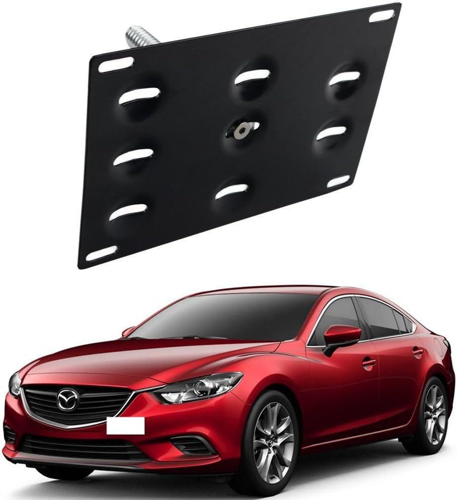 DEWHEL Front Bumper Tow Hook License Plate Mount Bracket Holder Bolt On for 2014-up Mazda3 2014-up Mazda6 2013-up Mazda CX-5 2016-up Mazda MX-5