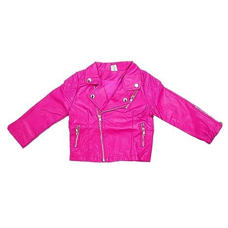 TOOGOO Chaqueta de PU de chica de estilo de moda del otono Abrigos de cuero de ninos para chica Sobretodo de nino chica rosa 13T: Amazon.es: Deportes y aire ...