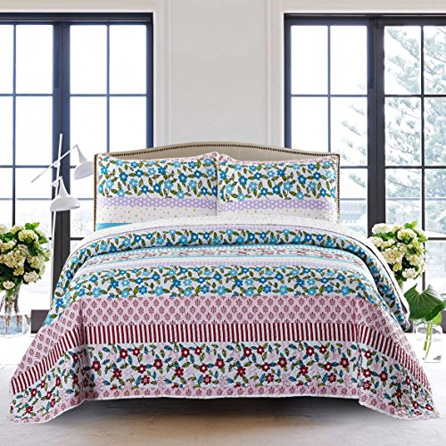Chenille 3 Piece Set (SLPR Summer Festival 3-Piece Lightweight Printed Quilt Set (King) | with 2 Shams Pre-Washed All-Season Machine Washable Bedspread Coverlet)