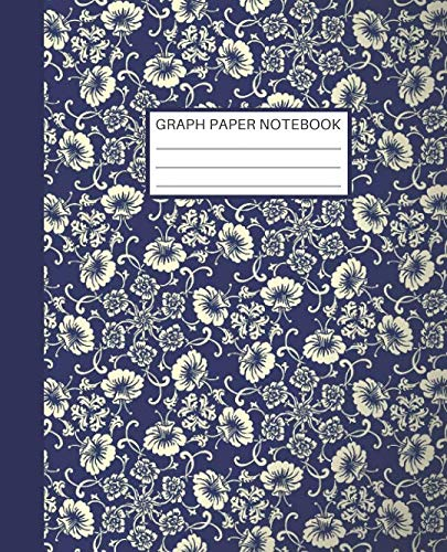 Graph Paper Notebook: Quad Ruled Graph Paper Composition Notebook for Students Math and Science Blue and Cream Flower Pattern