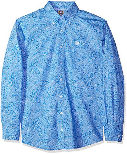 Cinch Men's Classic Fit Long Sleeve Button One Open Pocket Print Shirt, Paisley Blue, M