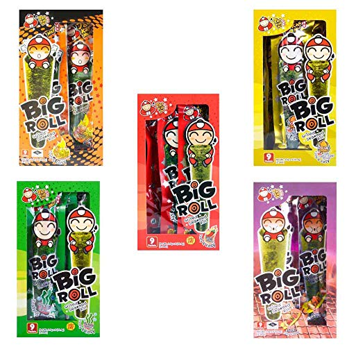 Big Roll Crispy Grilled Seaweed Variety Pack (Spicy, Classic, Tom Yum, BBQ, Squid) - 5 Boxes by Tao Kae Noi