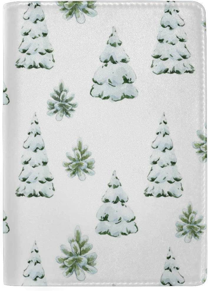 Pine Trees Covered By Heavy Snow Leather Passport Holder Cover Case Blocking Travel Wallet