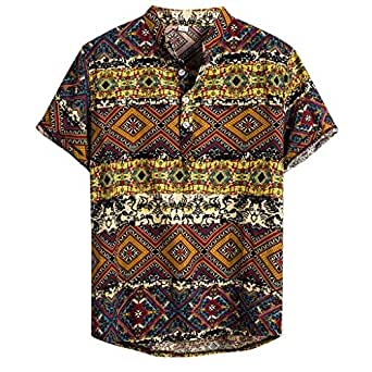 ♛2019 Clearance Sale♛ - Chamery Summer Shirt for MenMens Ethnic Short Sleeve Casual Cotton Linen Printing Hawaiian Shirt Blouse(Yellow,L)