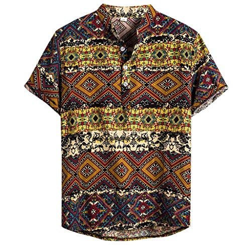AOJIAN Chic Men's Ethnic Short Sleeve Casual Cotton Linen Striped Printed Hawaiian Shirt Top(Yellow,M)