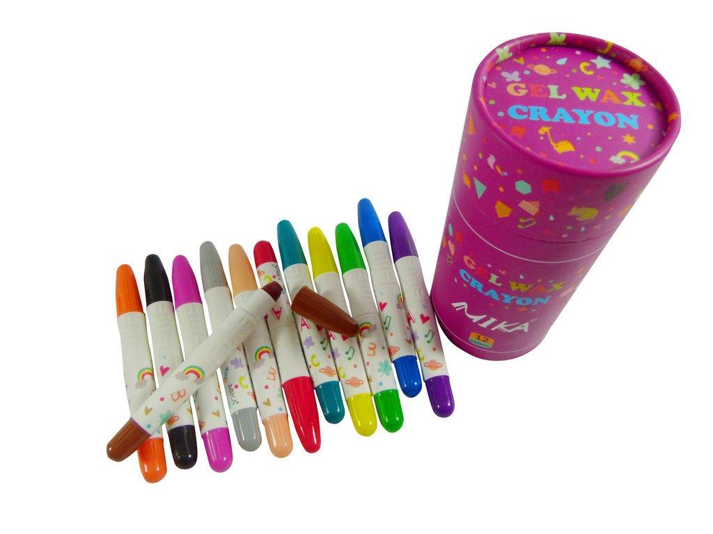 PartyErasers 3 in 1 - Crayon, pastello e WaterColour 12 colori Twistable Gel pastello di cera in vasca