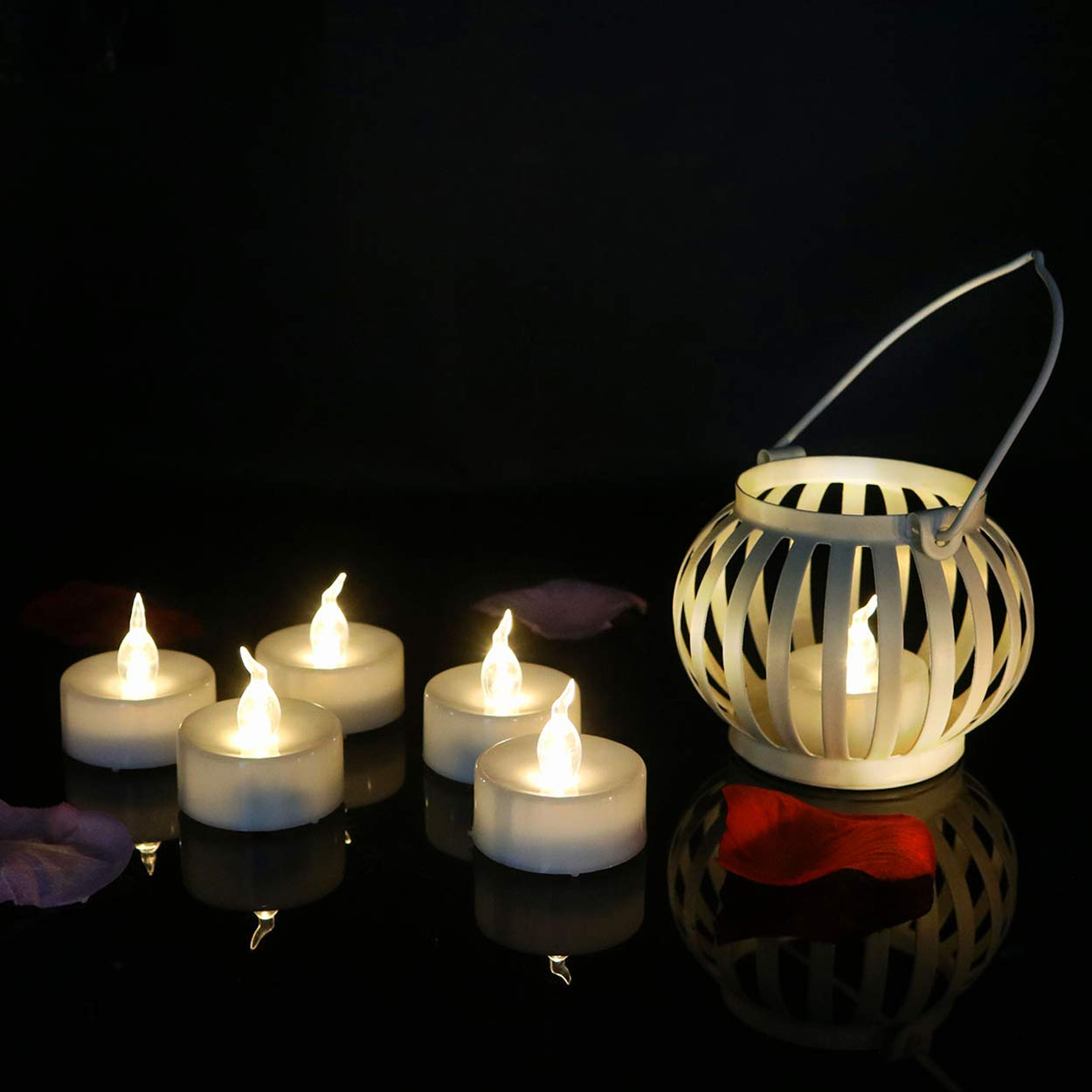 Beauty Collector 24pcs Tea Lights Glitter Flameless Led Candles Flickering Battery Operated Tealights Warm White for Holiday Festive Decorative Trees