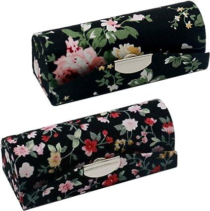 2 Pack caja de pintalabios con espejo, diseño floral elegante ...