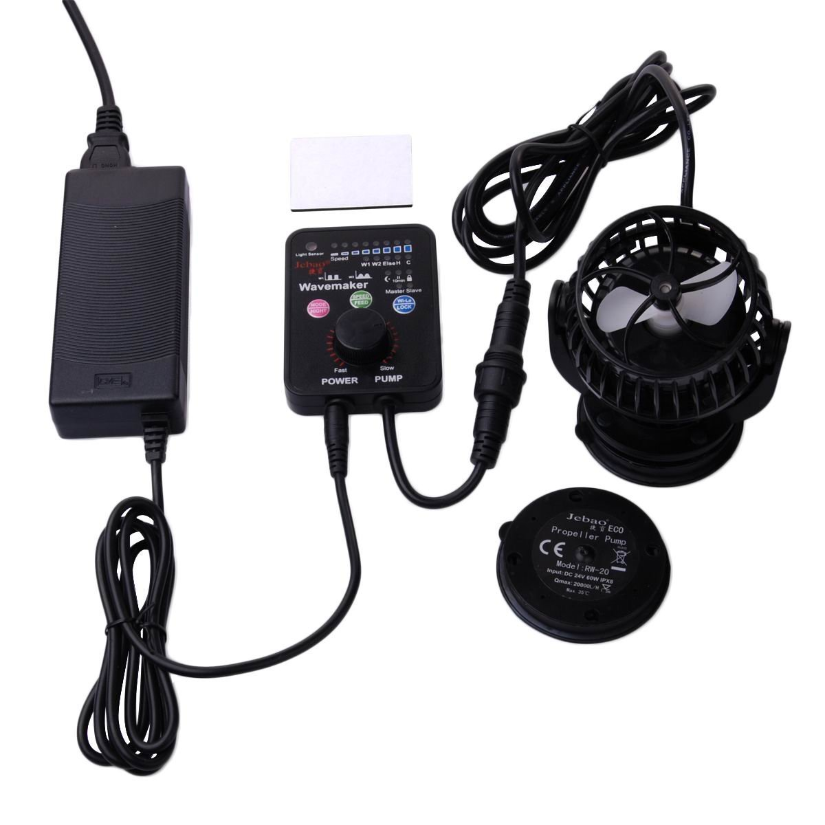 Jebao PP-20 2600-5300 GPH Wavemaker with Controller and Magnet Mount