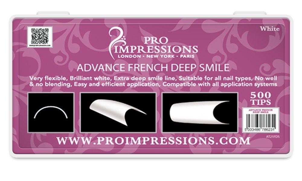 Advance French White Deep Smile Nail Tips Proimpressions (100 TIPS ...