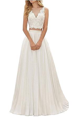 YORFORMALS Womens Bridal Beach Wedding Dress 2 Pieces Lace Chiffon Wedding Gown Size 2 Ivory